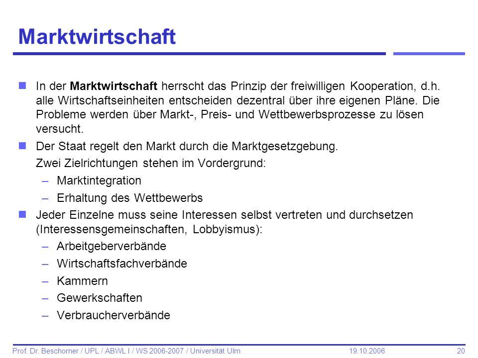 20 Prof. Dr. Beschorner / UPL / ABWL I / WS 2006-2007 / Universität Ulm 19.10.2006 Marktwirtschaft nIn der Marktwirtschaft herrscht das Prinzip der fr