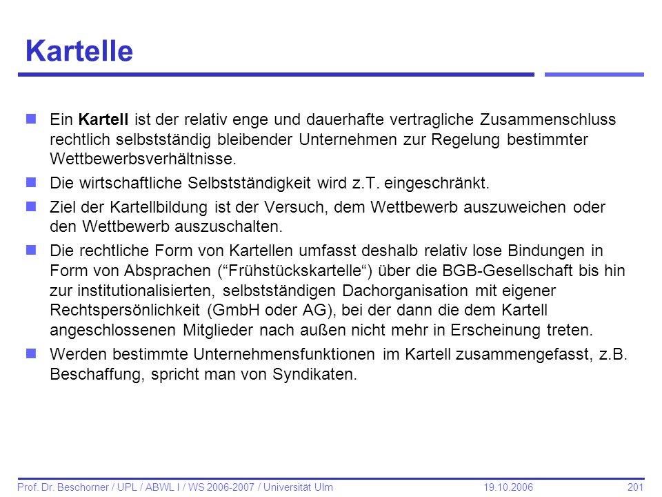 201 Prof. Dr. Beschorner / UPL / ABWL I / WS 2006-2007 / Universität Ulm 19.10.2006 Kartelle nEin Kartell ist der relativ enge und dauerhafte vertragl