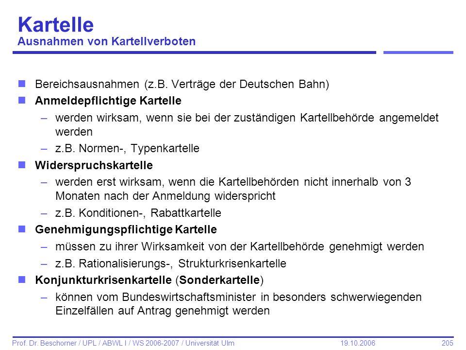 205 Prof. Dr. Beschorner / UPL / ABWL I / WS 2006-2007 / Universität Ulm 19.10.2006 Kartelle Ausnahmen von Kartellverboten nBereichsausnahmen (z.B. Ve