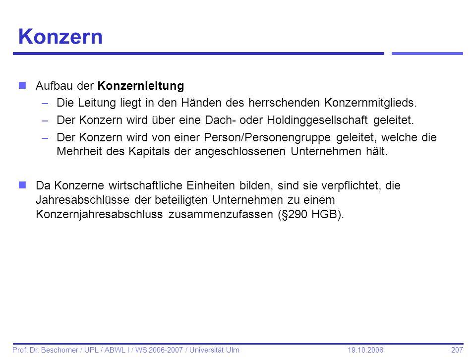 207 Prof. Dr. Beschorner / UPL / ABWL I / WS 2006-2007 / Universität Ulm 19.10.2006 Konzern nAufbau der Konzernleitung –Die Leitung liegt in den Hände