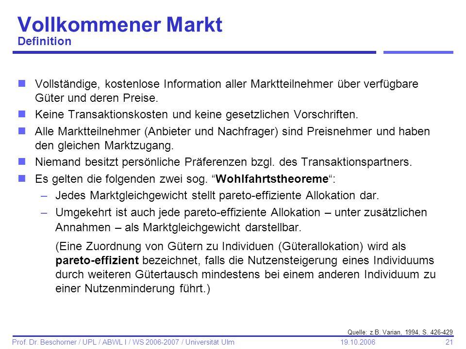 21 Prof. Dr. Beschorner / UPL / ABWL I / WS 2006-2007 / Universität Ulm 19.10.2006 Vollkommener Markt Definition nVollständige, kostenlose Information