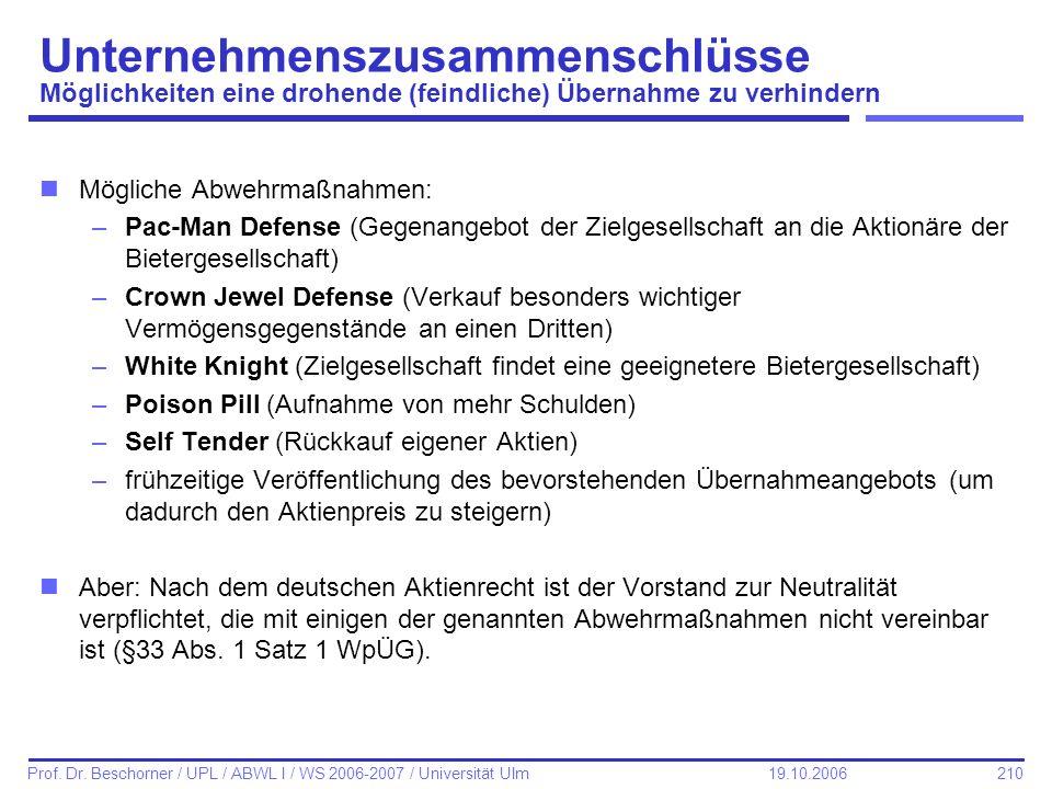 210 Prof. Dr. Beschorner / UPL / ABWL I / WS 2006-2007 / Universität Ulm 19.10.2006 Unternehmenszusammenschlüsse Möglichkeiten eine drohende (feindlic