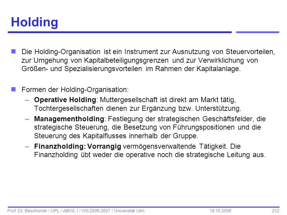 212 Prof. Dr. Beschorner / UPL / ABWL I / WS 2006-2007 / Universität Ulm 19.10.2006 Holding nDie Holding-Organisation ist ein Instrument zur Ausnutzun