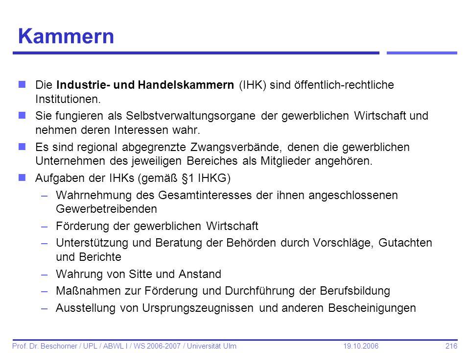 216 Prof. Dr. Beschorner / UPL / ABWL I / WS 2006-2007 / Universität Ulm 19.10.2006 Kammern nDie Industrie- und Handelskammern (IHK) sind öffentlich-r