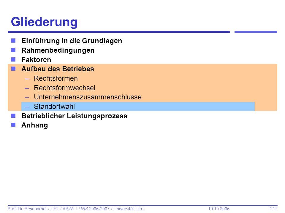217 Prof. Dr. Beschorner / UPL / ABWL I / WS 2006-2007 / Universität Ulm 19.10.2006 Gliederung nEinführung in die Grundlagen nRahmenbedingungen nFakto