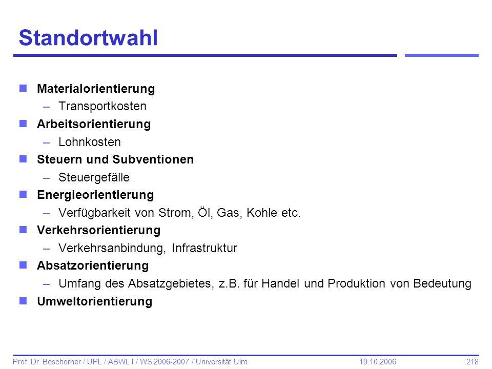 218 Prof. Dr. Beschorner / UPL / ABWL I / WS 2006-2007 / Universität Ulm 19.10.2006 Standortwahl nMaterialorientierung –Transportkosten nArbeitsorient