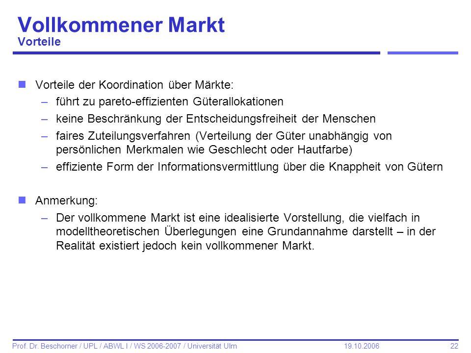 22 Prof. Dr. Beschorner / UPL / ABWL I / WS 2006-2007 / Universität Ulm 19.10.2006 Vollkommener Markt Vorteile nVorteile der Koordination über Märkte: