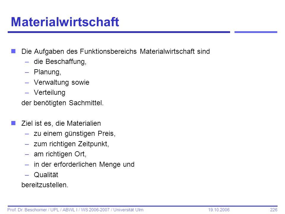226 Prof. Dr. Beschorner / UPL / ABWL I / WS 2006-2007 / Universität Ulm 19.10.2006 Materialwirtschaft nDie Aufgaben des Funktionsbereichs Materialwir
