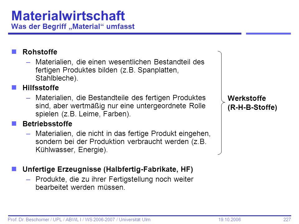 227 Prof. Dr. Beschorner / UPL / ABWL I / WS 2006-2007 / Universität Ulm 19.10.2006 Materialwirtschaft Was der Begriff Material umfasst nRohstoffe –Ma