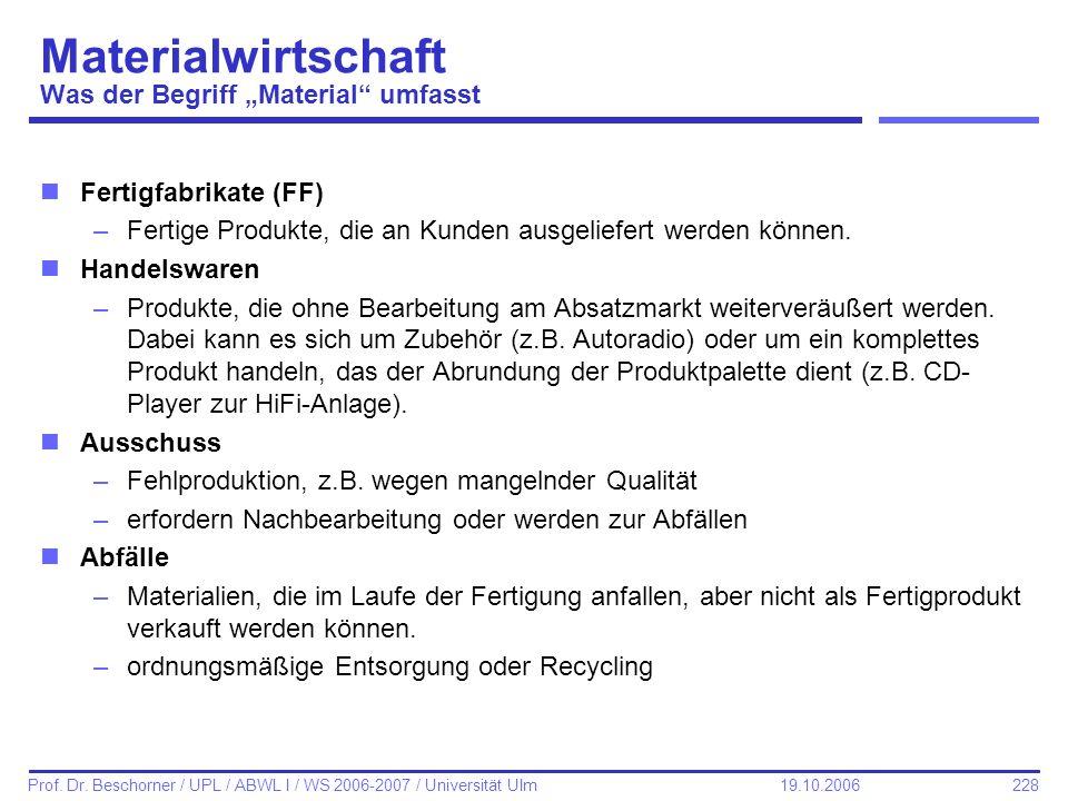 228 Prof. Dr. Beschorner / UPL / ABWL I / WS 2006-2007 / Universität Ulm 19.10.2006 Materialwirtschaft Was der Begriff Material umfasst nFertigfabrika
