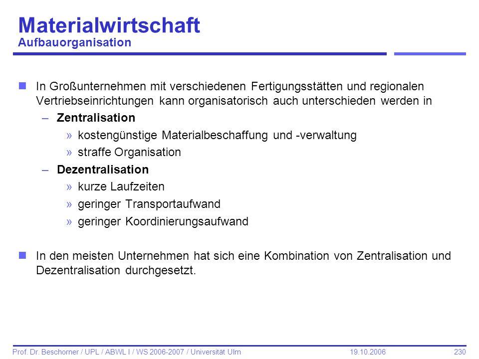 230 Prof. Dr. Beschorner / UPL / ABWL I / WS 2006-2007 / Universität Ulm 19.10.2006 Materialwirtschaft Aufbauorganisation nIn Großunternehmen mit vers