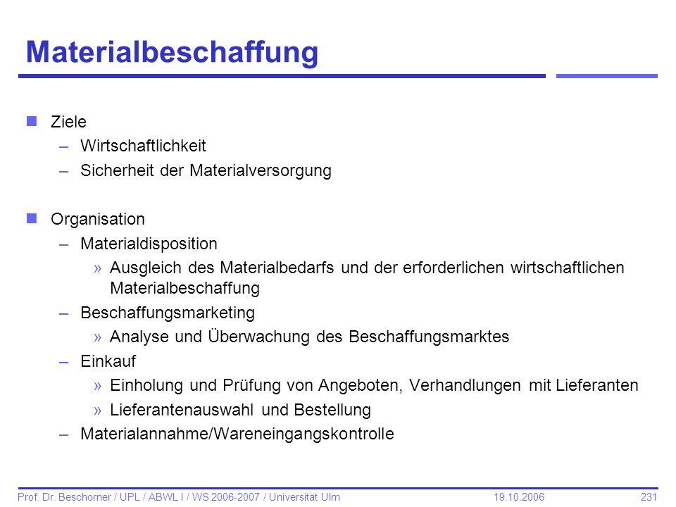 231 Prof. Dr. Beschorner / UPL / ABWL I / WS 2006-2007 / Universität Ulm 19.10.2006 Materialbeschaffung nZiele –Wirtschaftlichkeit –Sicherheit der Mat