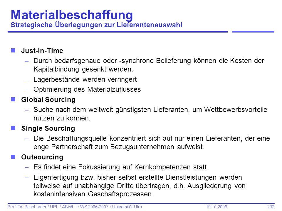 232 Prof. Dr. Beschorner / UPL / ABWL I / WS 2006-2007 / Universität Ulm 19.10.2006 Materialbeschaffung Strategische Überlegungen zur Lieferantenauswa