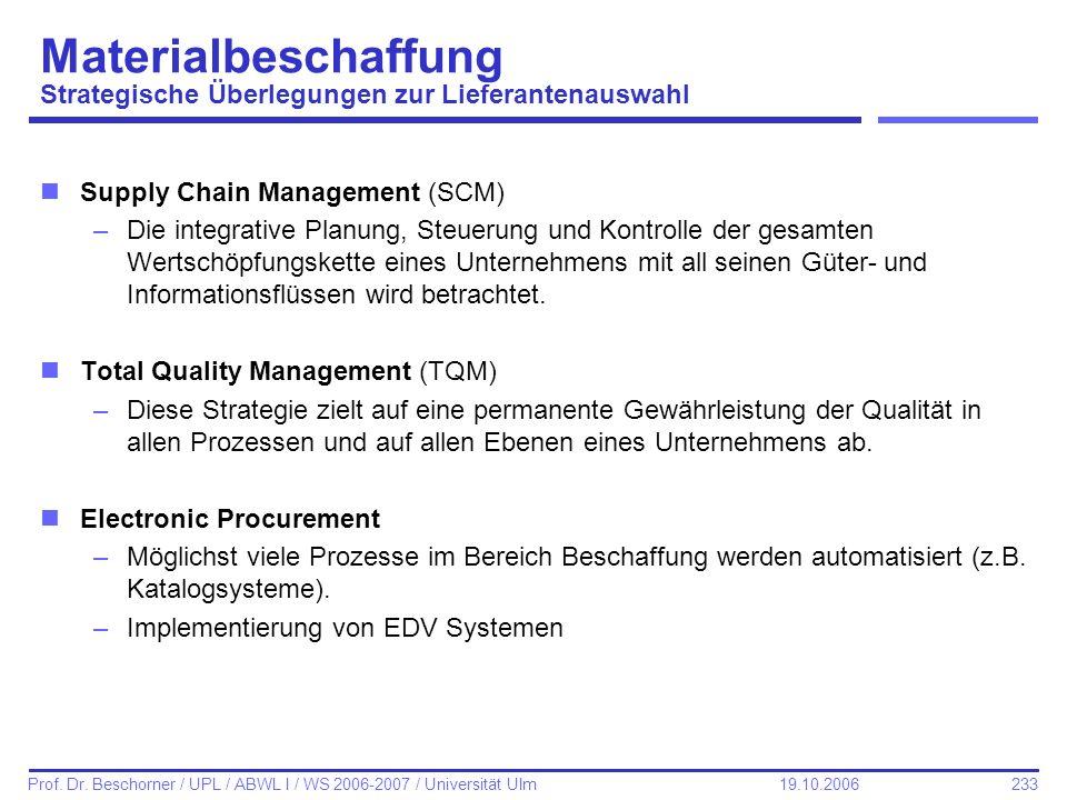 233 Prof. Dr. Beschorner / UPL / ABWL I / WS 2006-2007 / Universität Ulm 19.10.2006 nSupply Chain Management (SCM) –Die integrative Planung, Steuerung