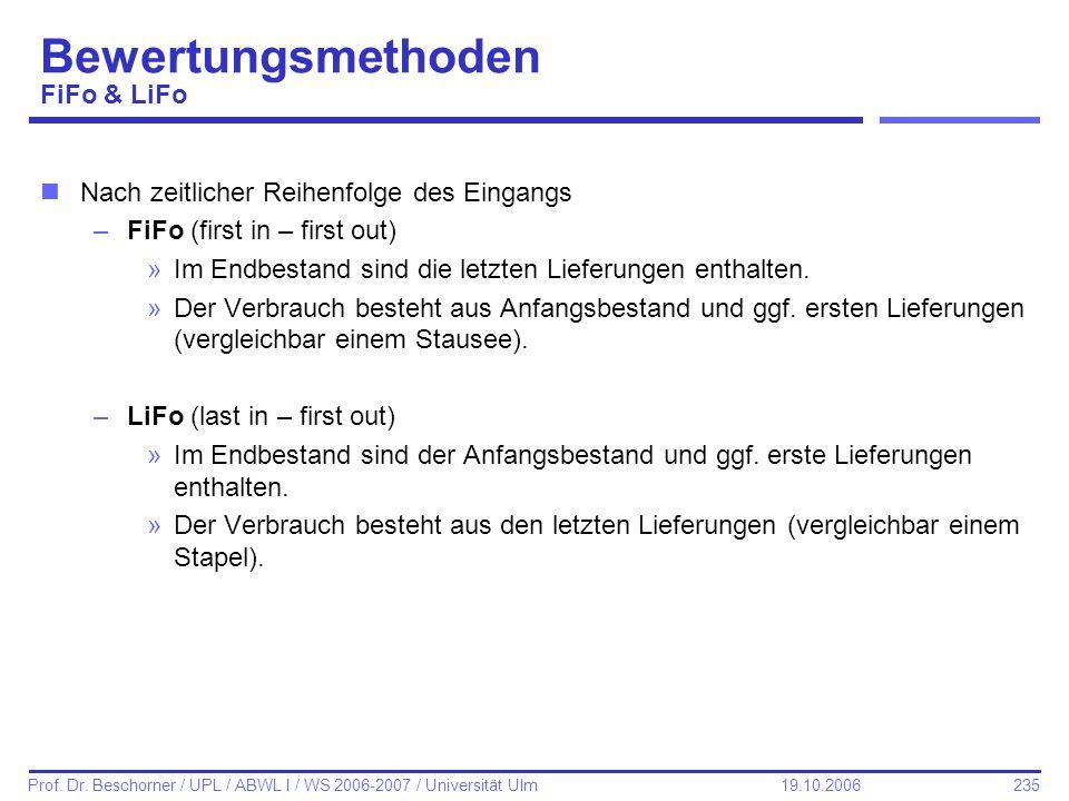 235 Prof. Dr. Beschorner / UPL / ABWL I / WS 2006-2007 / Universität Ulm 19.10.2006 Bewertungsmethoden FiFo & LiFo nNach zeitlicher Reihenfolge des Ei
