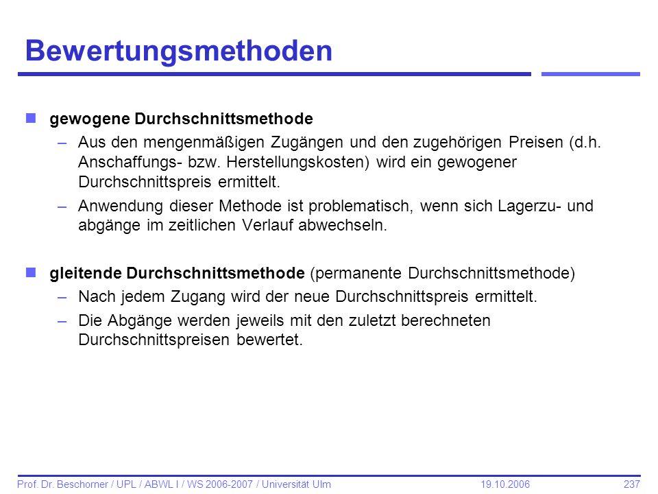 237 Prof. Dr. Beschorner / UPL / ABWL I / WS 2006-2007 / Universität Ulm 19.10.2006 Bewertungsmethoden ngewogene Durchschnittsmethode –Aus den mengenm