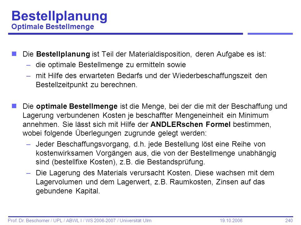 240 Prof. Dr. Beschorner / UPL / ABWL I / WS 2006-2007 / Universität Ulm 19.10.2006 Bestellplanung Optimale Bestellmenge nDie Bestellplanung ist Teil