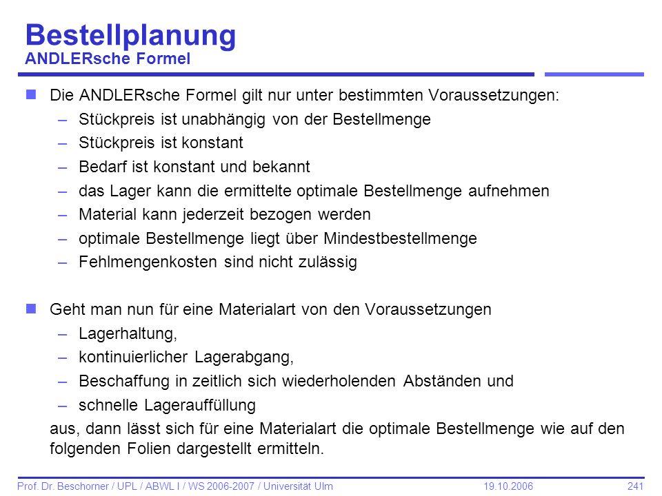 241 Prof. Dr. Beschorner / UPL / ABWL I / WS 2006-2007 / Universität Ulm 19.10.2006 Bestellplanung ANDLERsche Formel nDie ANDLERsche Formel gilt nur u