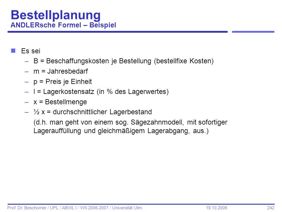 242 Prof. Dr. Beschorner / UPL / ABWL I / WS 2006-2007 / Universität Ulm 19.10.2006 Bestellplanung ANDLERsche Formel – Beispiel nEs sei –B = Beschaffu