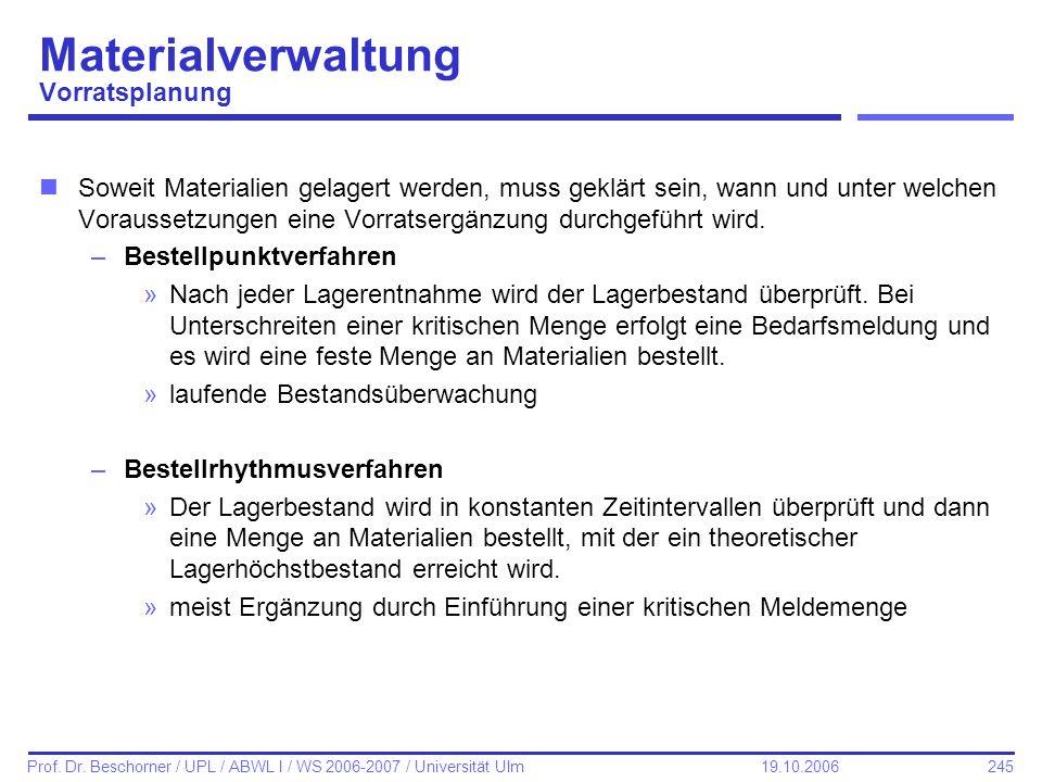 245 Prof. Dr. Beschorner / UPL / ABWL I / WS 2006-2007 / Universität Ulm 19.10.2006 Materialverwaltung Vorratsplanung nSoweit Materialien gelagert wer