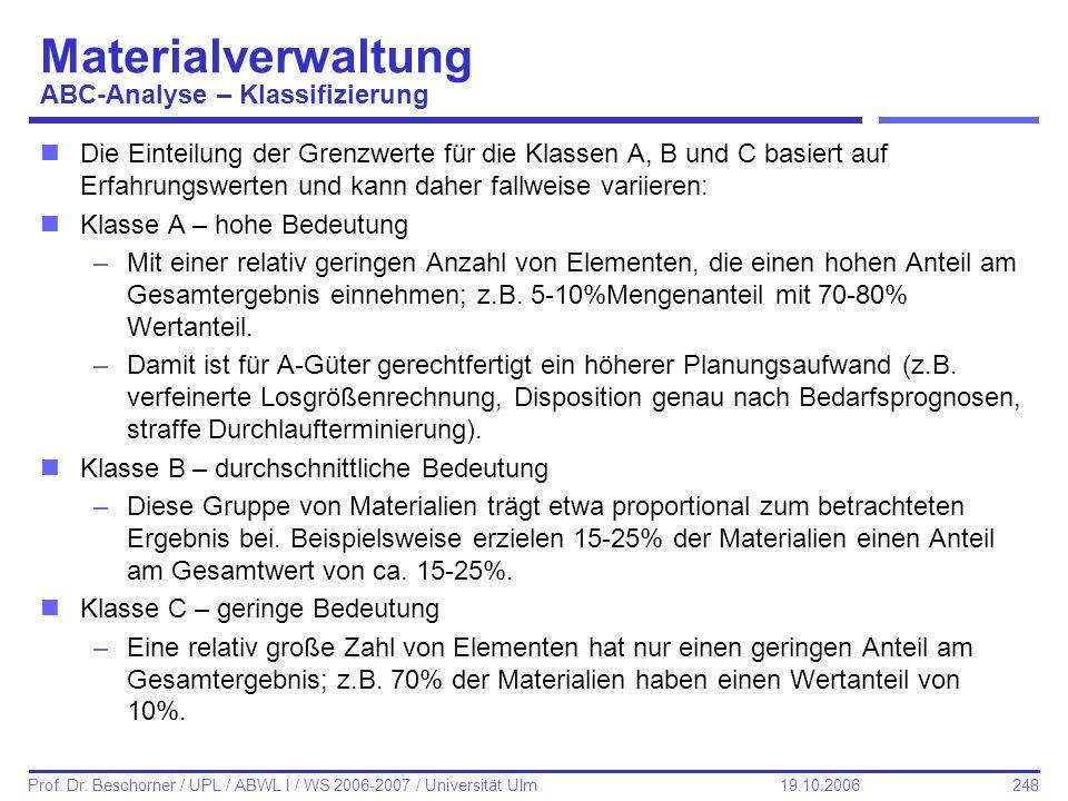 248 Prof. Dr. Beschorner / UPL / ABWL I / WS 2006-2007 / Universität Ulm 19.10.2006 Materialverwaltung ABC-Analyse – Klassifizierung nDie Einteilung d