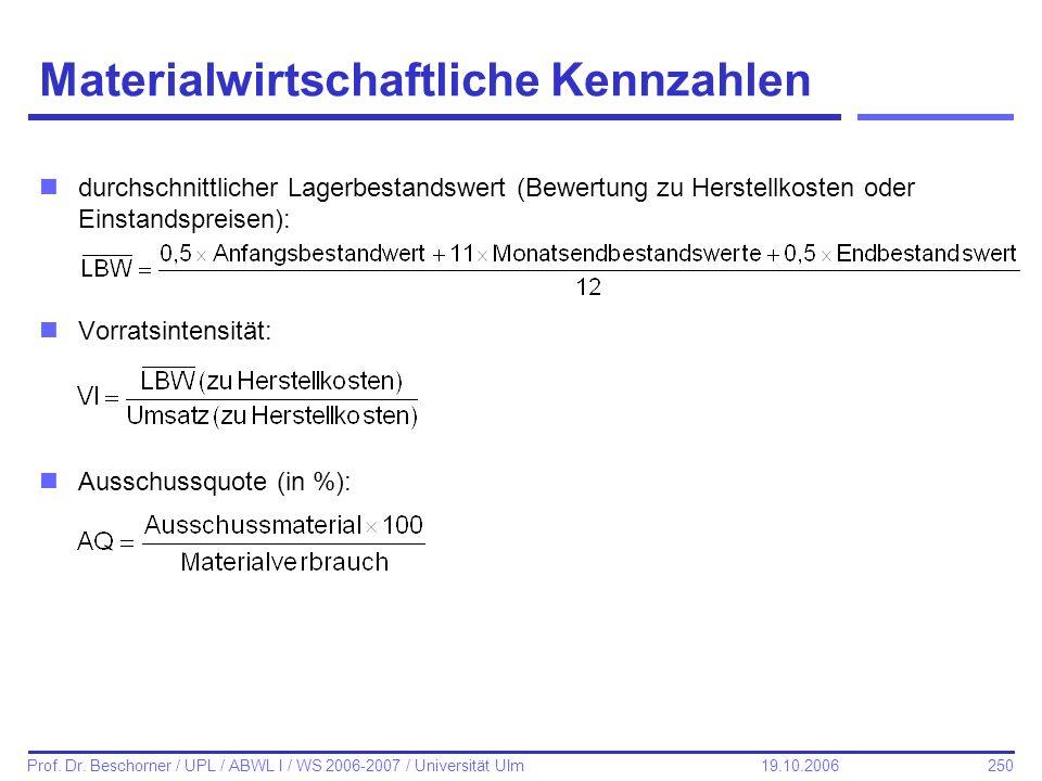 250 Prof. Dr. Beschorner / UPL / ABWL I / WS 2006-2007 / Universität Ulm 19.10.2006 Materialwirtschaftliche Kennzahlen ndurchschnittlicher Lagerbestan