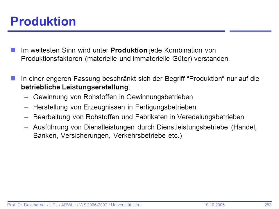 253 Prof. Dr. Beschorner / UPL / ABWL I / WS 2006-2007 / Universität Ulm 19.10.2006 Produktion nIm weitesten Sinn wird unter Produktion jede Kombinati