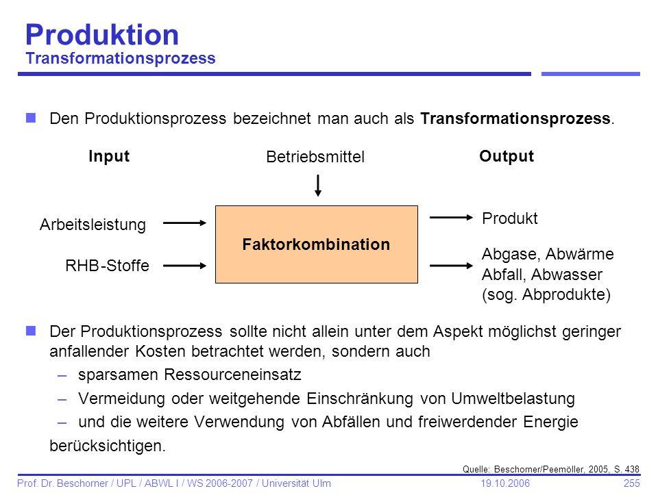 255 Prof. Dr. Beschorner / UPL / ABWL I / WS 2006-2007 / Universität Ulm 19.10.2006 Produktion Transformationsprozess nDen Produktionsprozess bezeichn