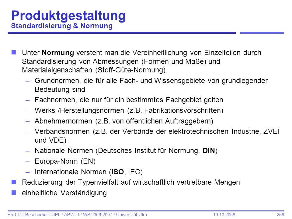 256 Prof. Dr. Beschorner / UPL / ABWL I / WS 2006-2007 / Universität Ulm 19.10.2006 Produktgestaltung Standardisierung & Normung nUnter Normung verste