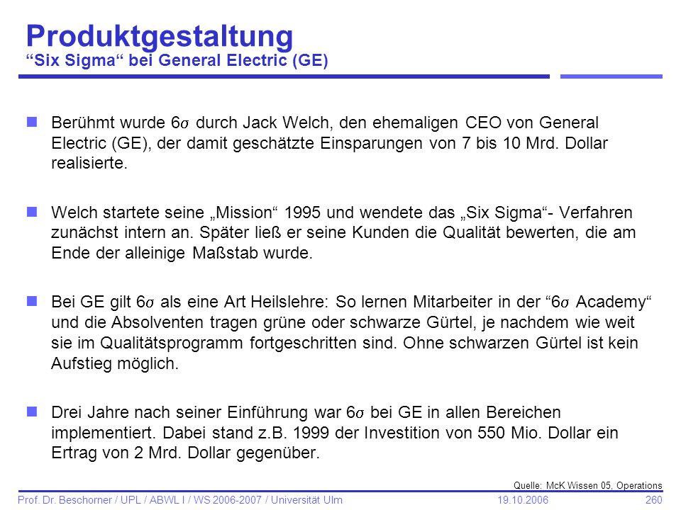 260 Prof. Dr. Beschorner / UPL / ABWL I / WS 2006-2007 / Universität Ulm 19.10.2006 Produktgestaltung Six Sigma bei General Electric (GE) nBerühmt wur