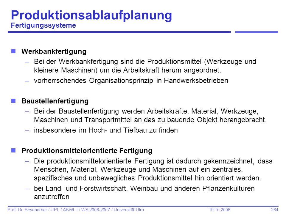 264 Prof. Dr. Beschorner / UPL / ABWL I / WS 2006-2007 / Universität Ulm 19.10.2006 Produktionsablaufplanung Fertigungssysteme nWerkbankfertigung –Bei
