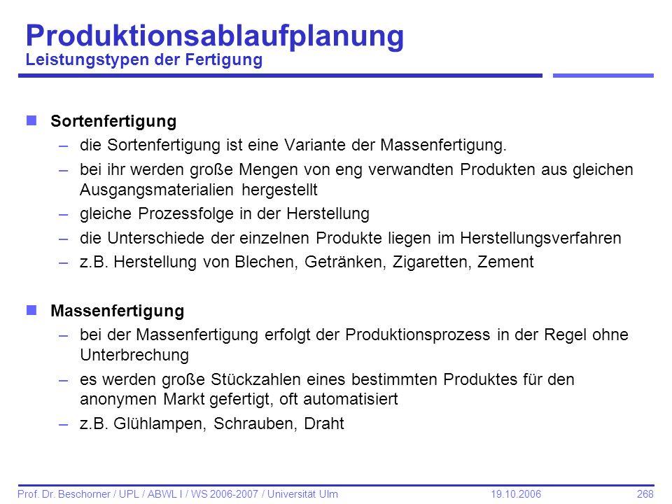 268 Prof. Dr. Beschorner / UPL / ABWL I / WS 2006-2007 / Universität Ulm 19.10.2006 Produktionsablaufplanung Leistungstypen der Fertigung nSortenferti