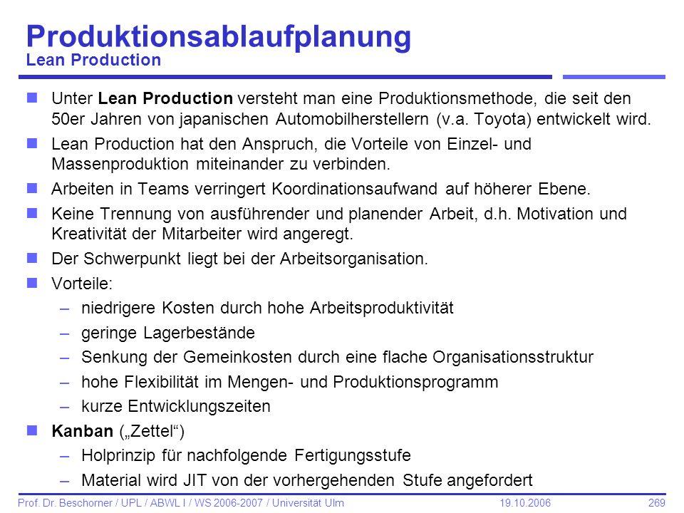 269 Prof. Dr. Beschorner / UPL / ABWL I / WS 2006-2007 / Universität Ulm 19.10.2006 Produktionsablaufplanung Lean Production nUnter Lean Production ve