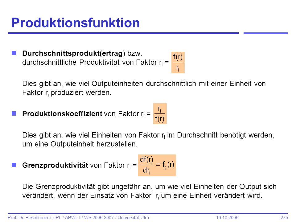 275 Prof. Dr. Beschorner / UPL / ABWL I / WS 2006-2007 / Universität Ulm 19.10.2006 Produktionsfunktion nDurchschnittsprodukt(ertrag) bzw. durchschnit