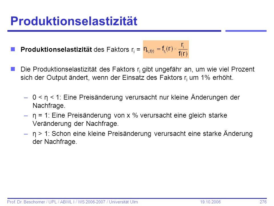 276 Prof. Dr. Beschorner / UPL / ABWL I / WS 2006-2007 / Universität Ulm 19.10.2006 Produktionselastizität nProduktionselastizität des Faktors r i = n