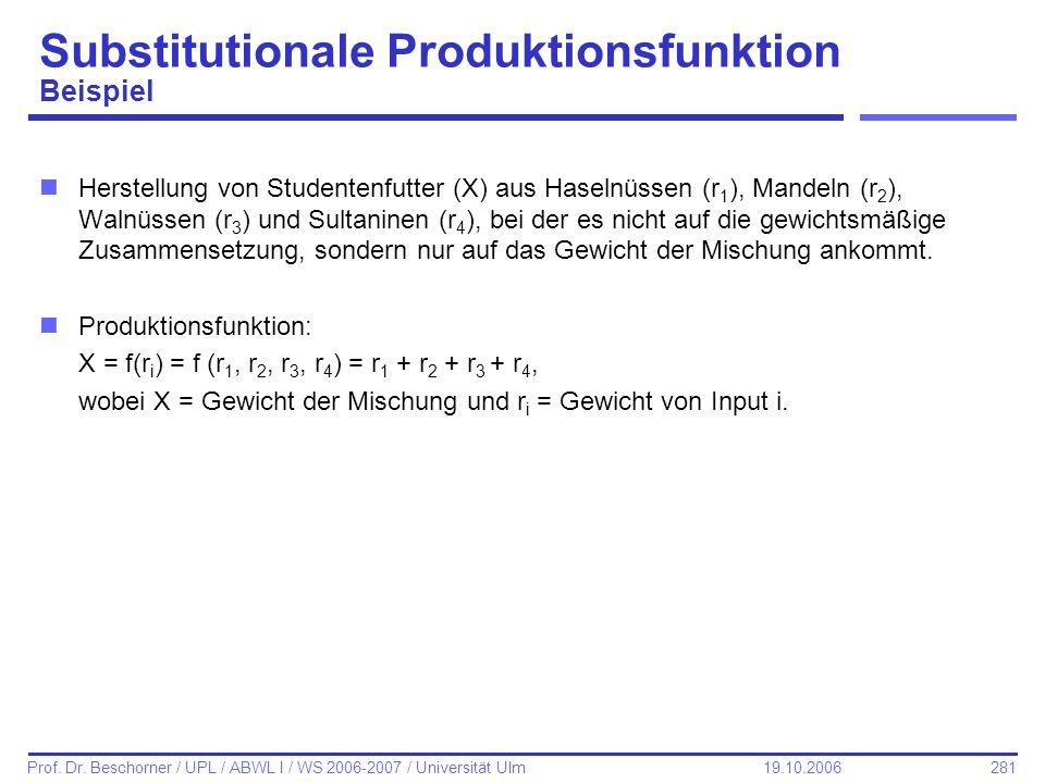 281 Prof. Dr. Beschorner / UPL / ABWL I / WS 2006-2007 / Universität Ulm 19.10.2006 Substitutionale Produktionsfunktion Beispiel nHerstellung von Stud
