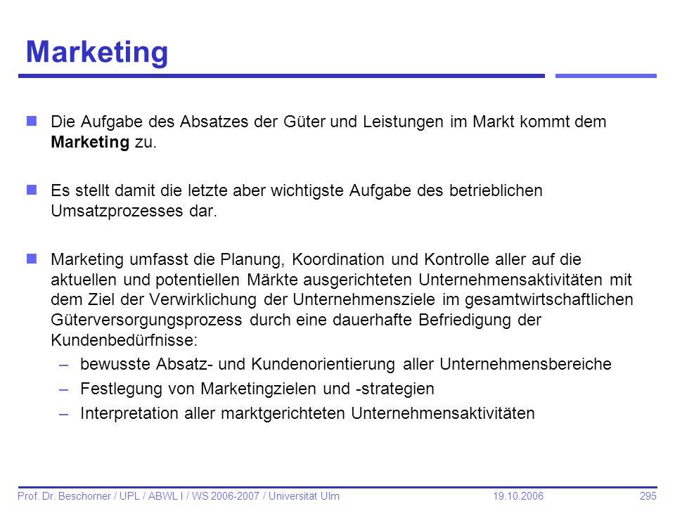 295 Prof. Dr. Beschorner / UPL / ABWL I / WS 2006-2007 / Universität Ulm 19.10.2006 Marketing nDie Aufgabe des Absatzes der Güter und Leistungen im Ma