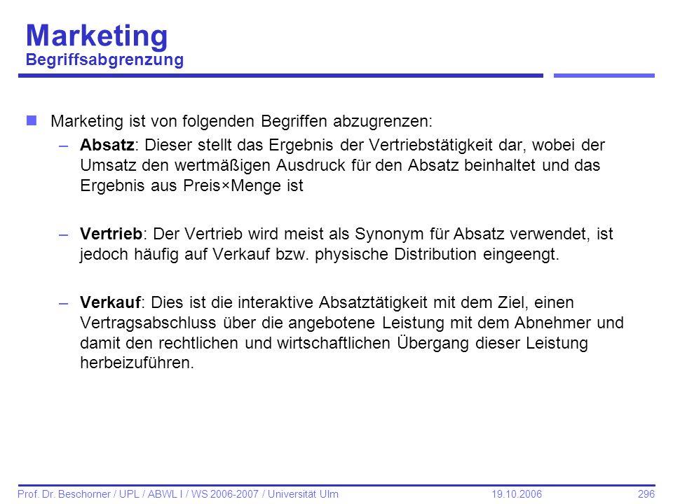 296 Prof. Dr. Beschorner / UPL / ABWL I / WS 2006-2007 / Universität Ulm 19.10.2006 Marketing Begriffsabgrenzung nMarketing ist von folgenden Begriffe