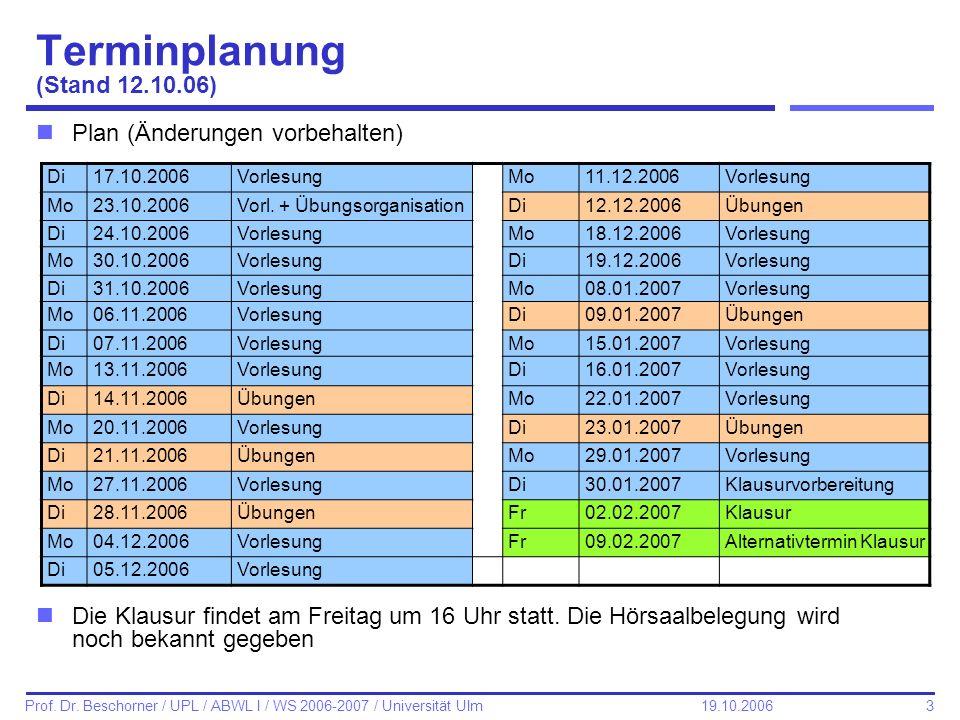 3 Prof. Dr. Beschorner / UPL / ABWL I / WS 2006-2007 / Universität Ulm 19.10.2006 Terminplanung (Stand 12.10.06) nPlan (Änderungen vorbehalten) nDie K