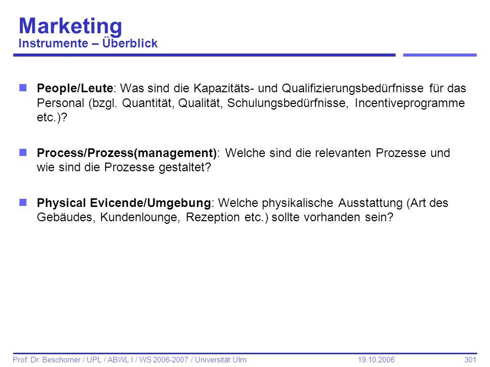 301 Prof. Dr. Beschorner / UPL / ABWL I / WS 2006-2007 / Universität Ulm 19.10.2006 Marketing Instrumente – Überblick nPeople/Leute: Was sind die Kapa