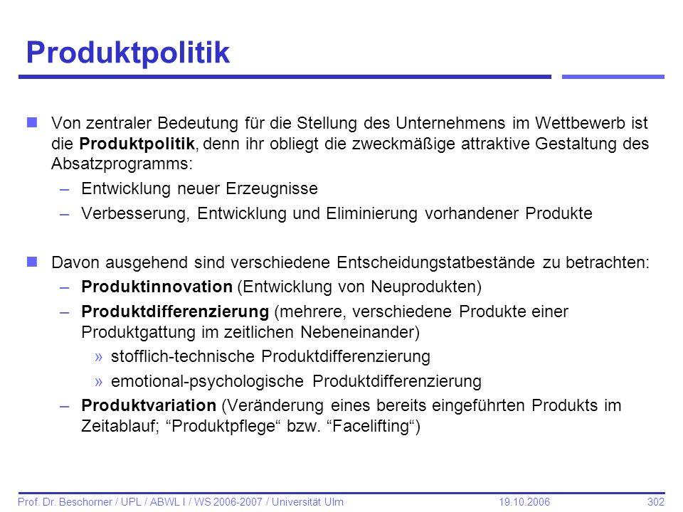 302 Prof. Dr. Beschorner / UPL / ABWL I / WS 2006-2007 / Universität Ulm 19.10.2006 Produktpolitik nVon zentraler Bedeutung für die Stellung des Unter