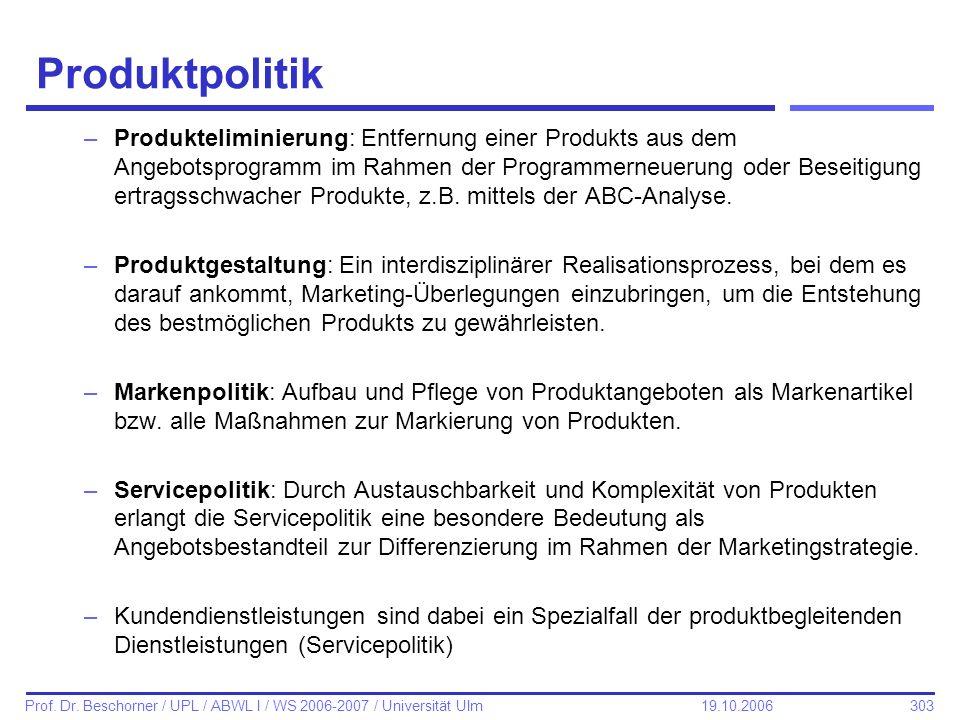 303 Prof. Dr. Beschorner / UPL / ABWL I / WS 2006-2007 / Universität Ulm 19.10.2006 Produktpolitik –Produkteliminierung: Entfernung einer Produkts aus