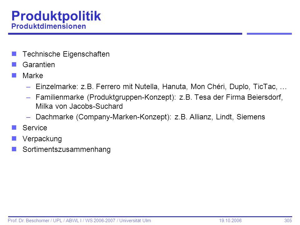 305 Prof. Dr. Beschorner / UPL / ABWL I / WS 2006-2007 / Universität Ulm 19.10.2006 Produktpolitik Produktdimensionen nTechnische Eigenschaften nGaran