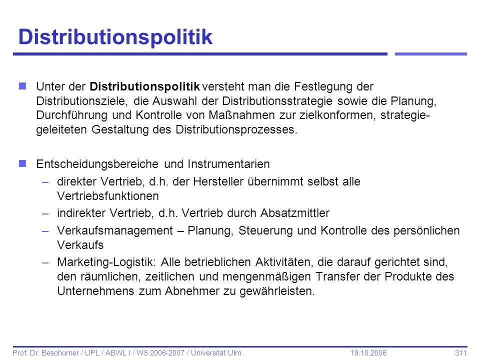 311 Prof. Dr. Beschorner / UPL / ABWL I / WS 2006-2007 / Universität Ulm 19.10.2006 Distributionspolitik nUnter der Distributionspolitik versteht man
