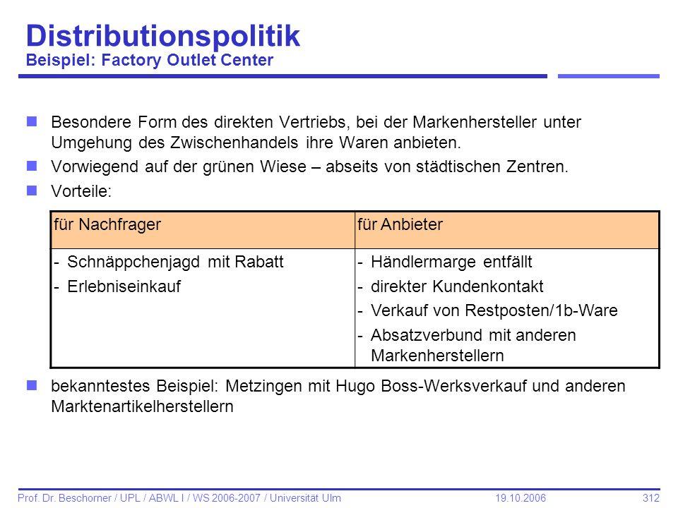 312 Prof. Dr. Beschorner / UPL / ABWL I / WS 2006-2007 / Universität Ulm 19.10.2006 Distributionspolitik Beispiel: Factory Outlet Center nBesondere Fo