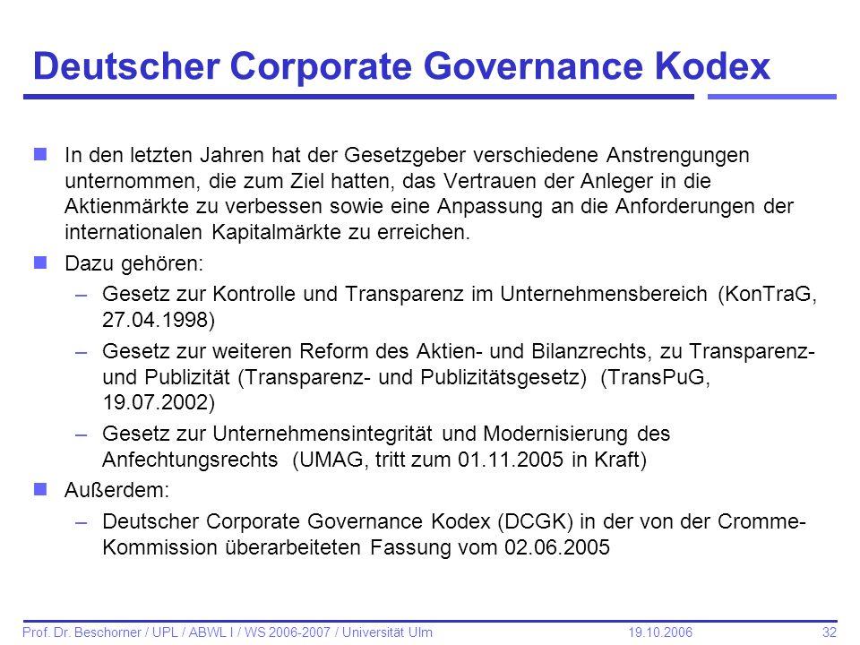 32 Prof. Dr. Beschorner / UPL / ABWL I / WS 2006-2007 / Universität Ulm 19.10.2006 Deutscher Corporate Governance Kodex nIn den letzten Jahren hat der