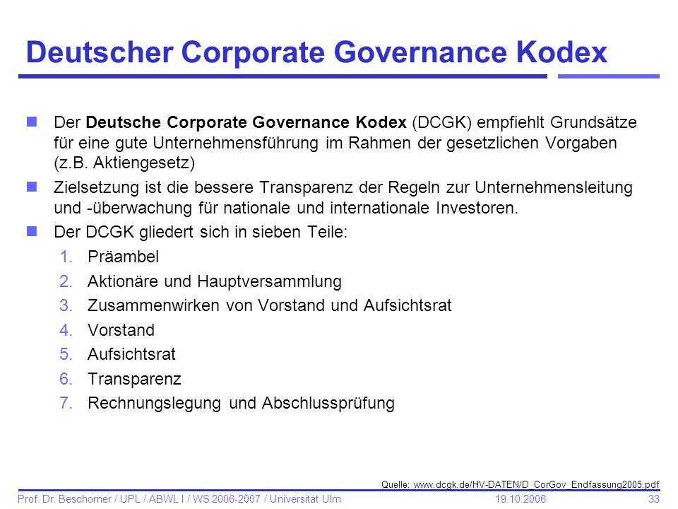 33 Prof. Dr. Beschorner / UPL / ABWL I / WS 2006-2007 / Universität Ulm 19.10.2006 Deutscher Corporate Governance Kodex nDer Deutsche Corporate Govern