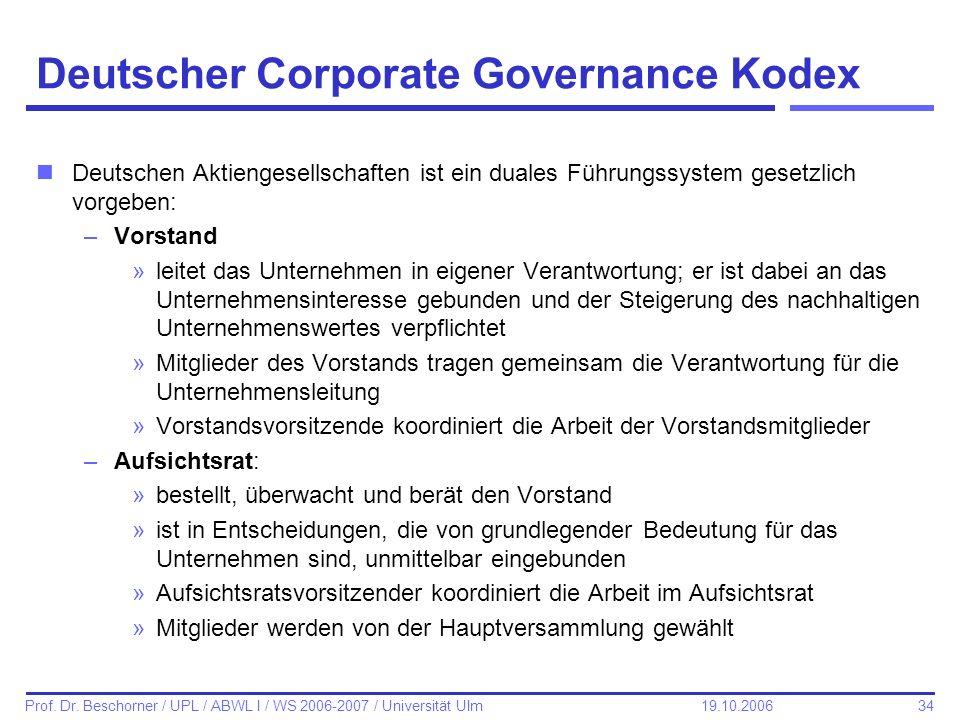 34 Prof. Dr. Beschorner / UPL / ABWL I / WS 2006-2007 / Universität Ulm 19.10.2006 Deutscher Corporate Governance Kodex nDeutschen Aktiengesellschafte