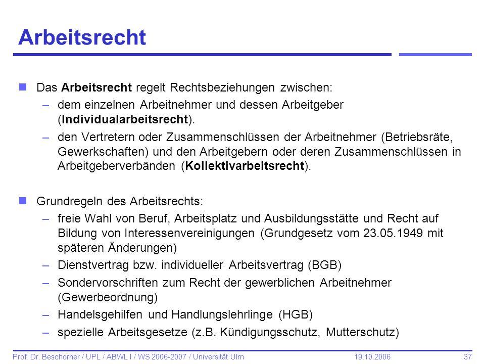 37 Prof. Dr. Beschorner / UPL / ABWL I / WS 2006-2007 / Universität Ulm 19.10.2006 Arbeitsrecht nDas Arbeitsrecht regelt Rechtsbeziehungen zwischen: –