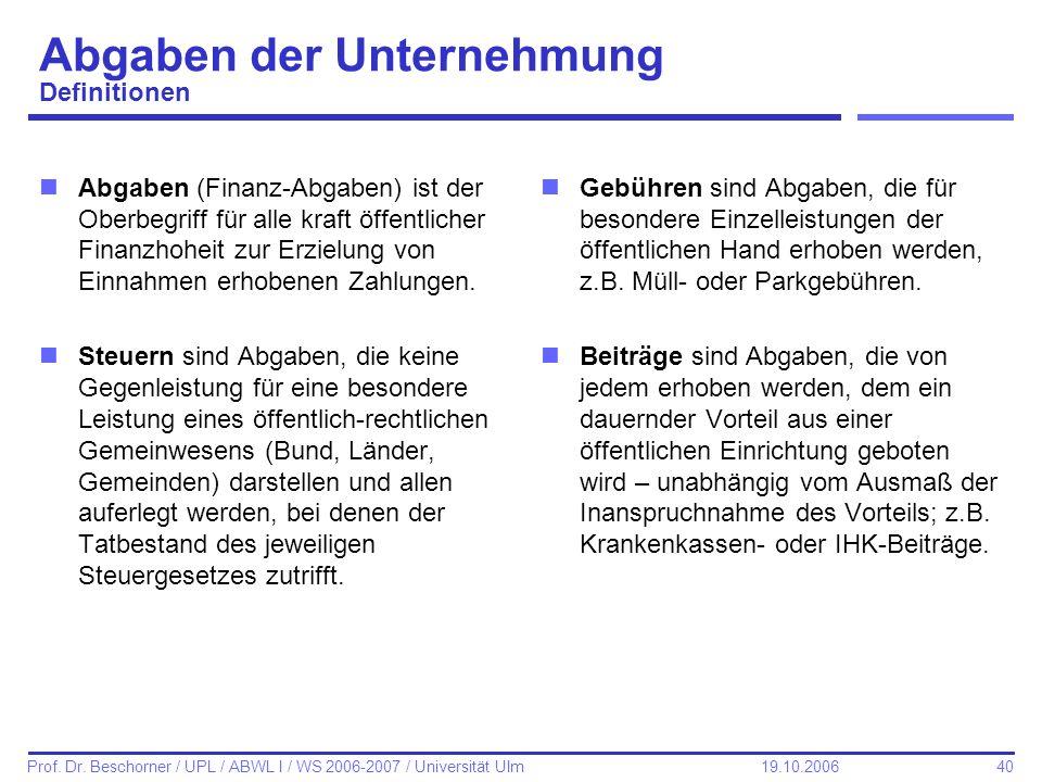 40 Prof. Dr. Beschorner / UPL / ABWL I / WS 2006-2007 / Universität Ulm 19.10.2006 Abgaben der Unternehmung Definitionen nAbgaben (Finanz-Abgaben) ist